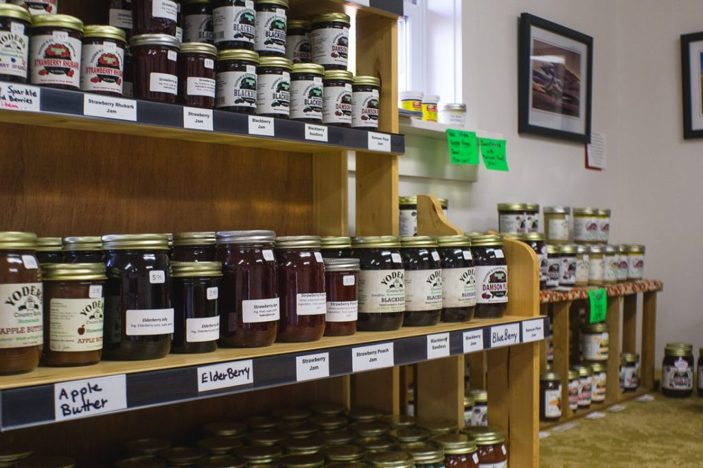 Jams and Jellies on the store room shelf...
